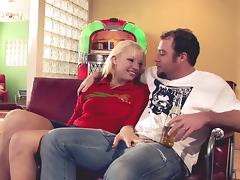 Randy hunk cannot resist a cute blonde's nice body