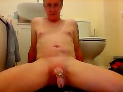 Sissy ken attempts to cum through dildo play again