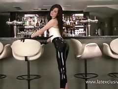 Shiny latex barmaids rubber fetishwear and high heel babe posing