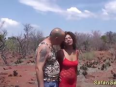 Hot chocolade african babe in her first safari gangbang fuck orgy
