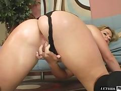 Woman in black panties yearns to be plowed by a stiff member