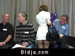 Slutty nurse fucked hard in gangbang meeting of 5 old doctors