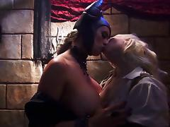 Women in kinky costumes ravish each other's nice pussies