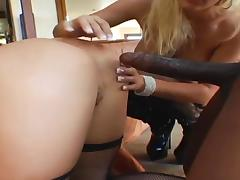 Brunette and Blonde Anal Threesome