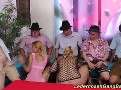 Extreme wild amateur german swinger lederhosen gangbang fuck party orgy