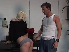 Kelly lets the dirty mechanic penetrate her in a number of ways