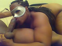 Thick Masked Ebony Gives AMAZING Blowjob