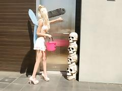 Petite blonde with wings receives a pussy licking from a blonde MILF