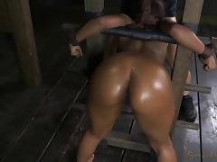 Ebony in bondage gets roughly banged doggystyle in BDSM torture