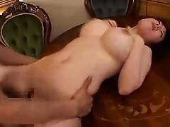 Big breasted Asian slut gets her hairy pussy fingered and f