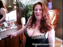 Chubby redhead in black lingerie bends over for a great fuck