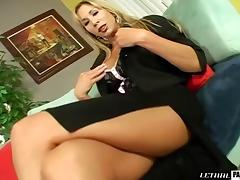 Hot MILF fingers her pussy before riding an erected cock