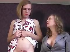Mistress makes her sissy gurl cum