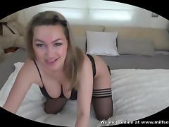 Blonde amateur anal sex creampie POV