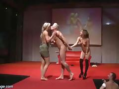 Wild threesome fuck orgy on european public sex fair show stage