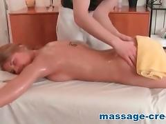 Exhausted creampied blonde after massage