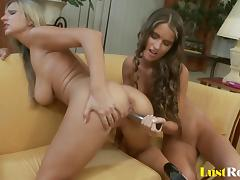 Alluring lesbian friends love playing with each other's great bodies