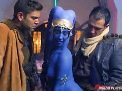 Blue hotness fucked from both sides mercilessly during a hot threesome