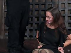 Babe in a black dress treated to a formidable BDSM game