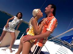 Sahara Knite and Boroka Bolls get frisky with a cock on a boat