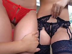 Beautiful lingerie babes softcore lesbian play on cam