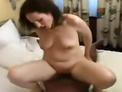 Sexy brunette slut with black guy gets her pussy fucked hard