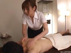 Seductive Japanese maseuse gets fucked and loves it