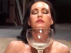 Chick sip liters of hot sperm