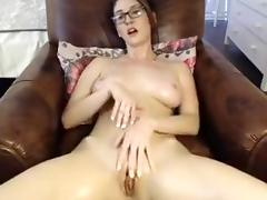 Busty brunette babe with big boobs fingering and teasing on webcam