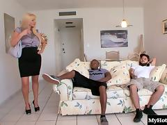 Busty blonde cougar bends over for a hot black guy's dong