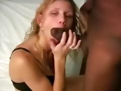 Interracial blonde babe sucking hug black cock and gets pussy drilled in missionary style