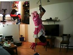 Sissy sluts self bondage suspension