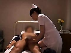 Kinky Oriental nurse puts her hands to work on a patient's