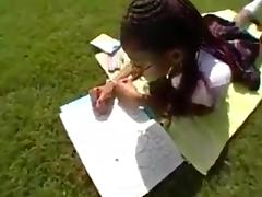 Black school-girl has extracurricular activities