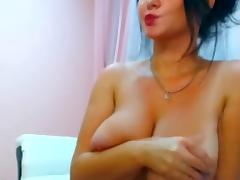Webcam hot brunette with big boobs teasing and seducing at home