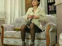 Russian in fashioned stockings dildo masturbaring and fucked