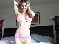 Stunning blonde goes at it solo