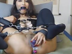 Hot Asian Slut Solo Bondage and Squirt