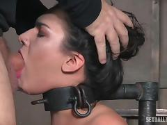 collared sex slave takes a cock deep in her pretty mouth