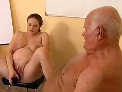 Grandpa fucks pregnant girl