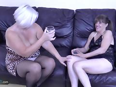 Two horny mature grannies fucking hardcore with handy youngster