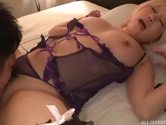Japanese blonde Kinami Hina wearing sexy lingerie and getting boned