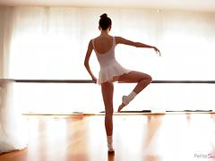 petite ballerina gives a blowjob on the barre