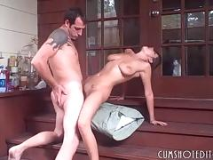 Hot Busty Slut Pleasing Boyfriend's Cock On The Porch