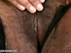 Misty spreads her big hairy pussy
