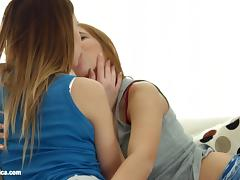 Sensual lesbian scene with Candy Sweet and Candy Bell by