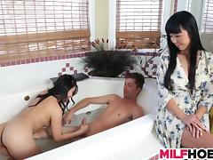 Asian Mom Teachs Her Stepdaughter and BF