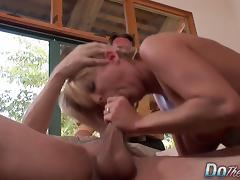 Cougar Sucks & Fucks a Stud While Cuckold Watches