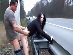 Adventurous fuck next to a highway