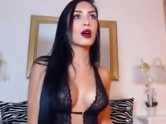 Raven haired beauty toys ass   strokes